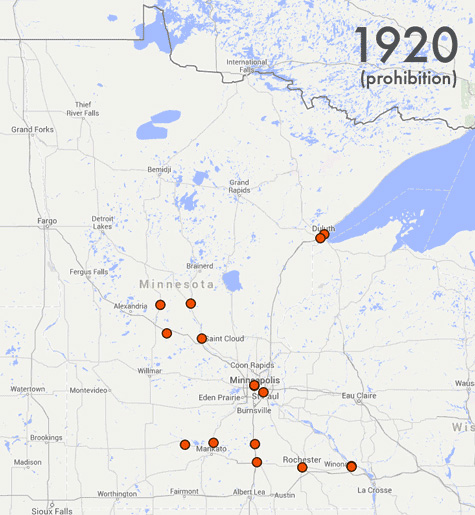 Map of Minnesota breweries in 1920